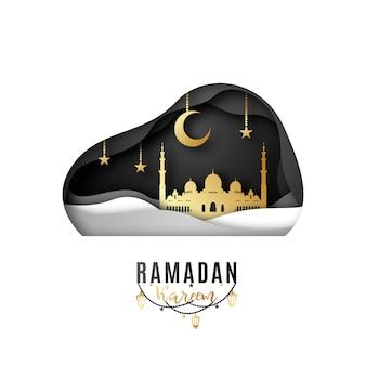 Progettazione di biglietti di auguri in occasione del ramadan del mese sacro dei musulmani.