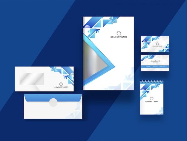 Progettazione di biglietto da visita, copertina e modello con elementi geometrici astratti sul blu.