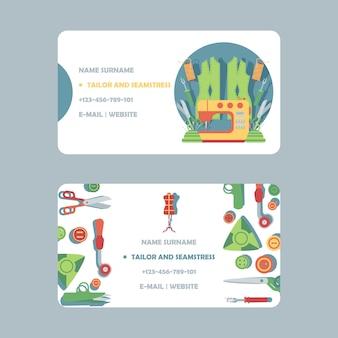 Progettazione di biglietto da visita del sarto, illustrazione.