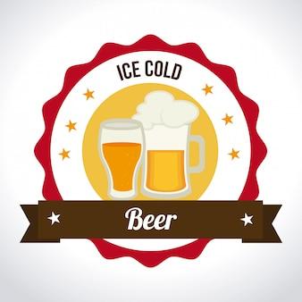 Progettazione di birra su sfondo bianco