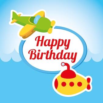 Progettazione di buon compleanno sopra l'illustrazione di vettore del fondo del cielo