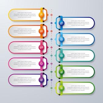 Progettazione di business infographic con 10 processi o passaggi.