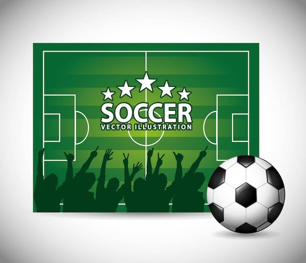 Progettazione di calcio sopra illustrazione vettoriale sfondo grigio