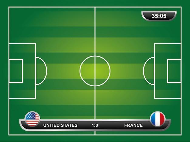 Progettazione di calcio sopra l'illustrazione di vettore del fondo del campo