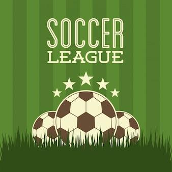 Progettazione di calcio sopra l'illustrazione verde di vettore del fondo