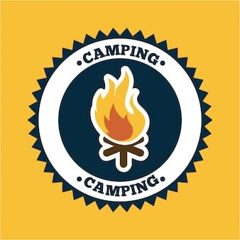 Progettazione di campeggio sopra l'illustrazione arancio di vettore del fondo