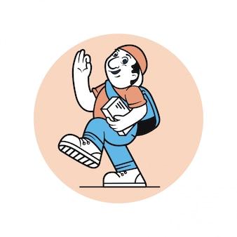 Progettazione di carattere dell'illustrazione di vettore dell'uomo del messaggero