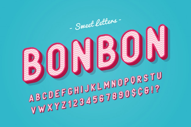 Progettazione di carattere dolce caramella di vettore, alfabeto, carattere tipografico, lettere e