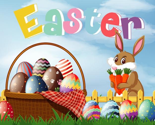 Progettazione di carattere felice pasqua con coniglietto di pasqua e uova