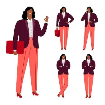 Progettazione di carattere moderna della donna di affari afroamericana
