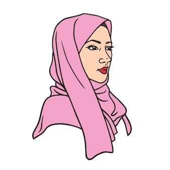 Progettazione di carattere musulmana del disegno della ragazza nell'illustrazione di vettore di hijab