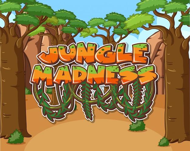 Progettazione di carattere per follia di giungla di parola con molti alberi in background