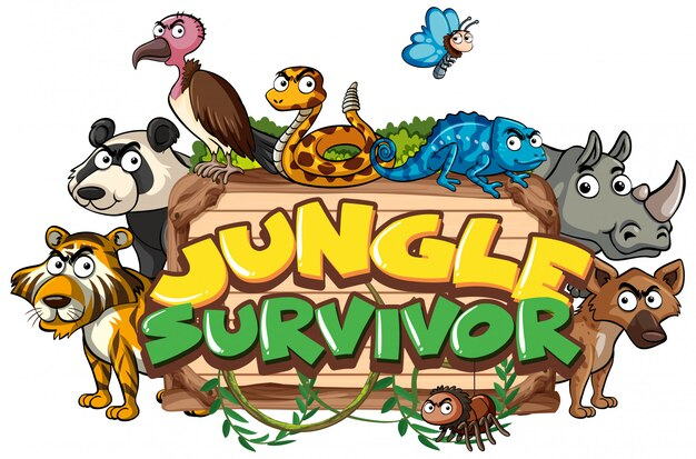 Progettazione di carattere per sopravvissuto giungla parola con animali selvatici in background