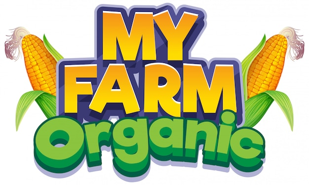 Progettazione di caratteri per la parola mia fattoria con semi freschi