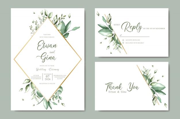 Progettazione di carta del modello dell'invito di nozze con l'acquerello floreale e le foglie