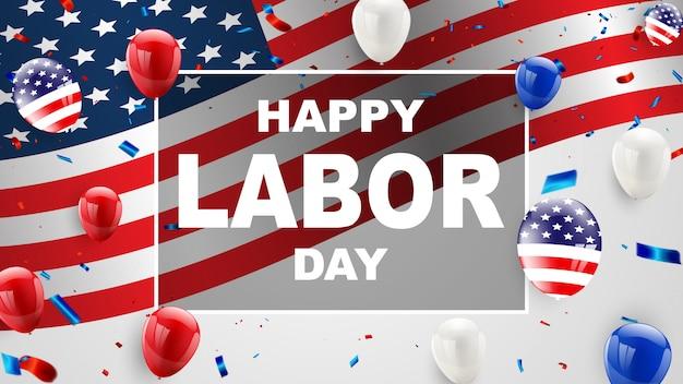 Progettazione di carta di festa del lavoro palloncini bandiera americana sullo sfondo