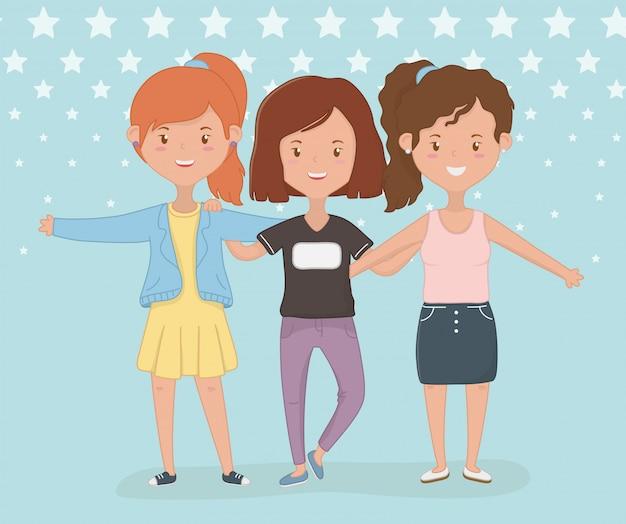 Progettazione di cartoni animati di amicizia delle ragazze