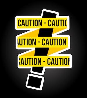Progettazione di cautela sopra illustrazione vettoriale sfondo nero