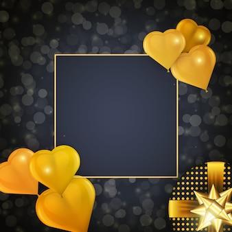 Progettazione di celebrazione di festa con cornice quadrata, palloncini dorati a forma di cuore realistico e regalo su sfondo scuro