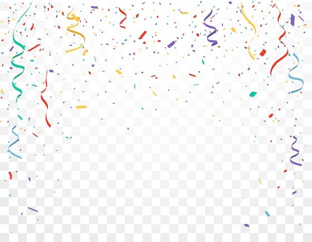 Progettazione di celebrazioni di coriandoli colorati isolato su sfondo trasparente