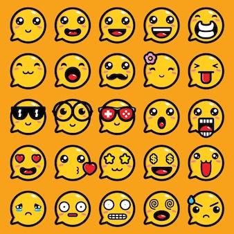 Progettazione di chat di vettore di espressione emoji