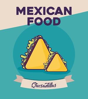 Progettazione di cibo messicano con l'icona di quesadillas