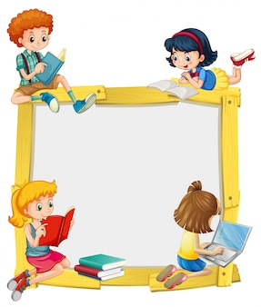 Progettazione di confine con i bambini a leggere e fare i compiti
