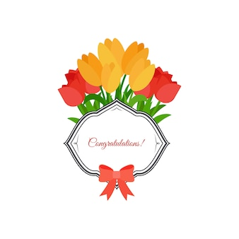Progettazione di congratulazioni di tulipani rosa e giallo