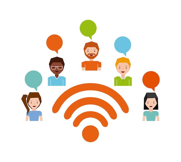 Progettazione di connessione wifi, illustrazione grafica vettoriale eps10