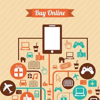 Progettazione di e-commerce su sfondo rosa illustrazione vettoriale