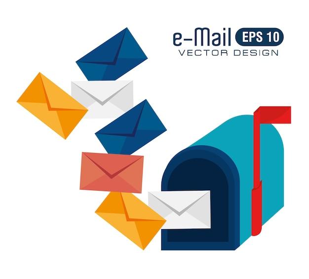 Progettazione di e-mail, illustrazione vettoriale.
