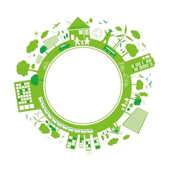 Progettazione di ecologia su sfondo bianco