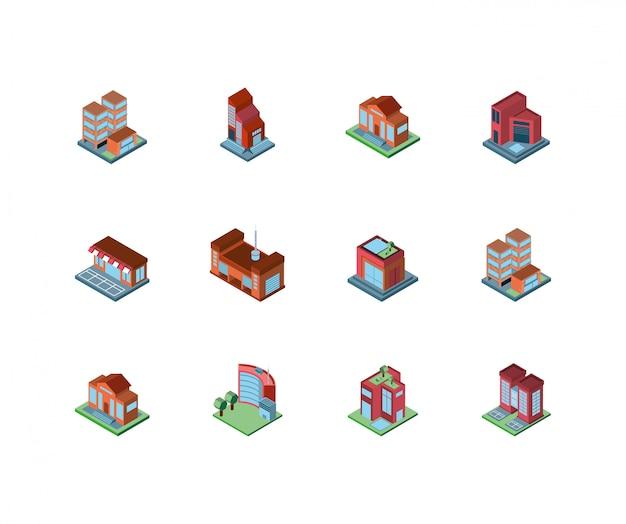 Progettazione di edifici isometrica isolata della città
