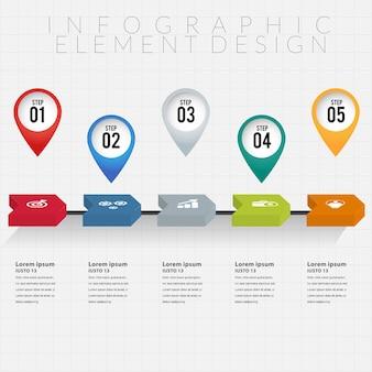 Progettazione di elementi infografica con infografica punto punto
