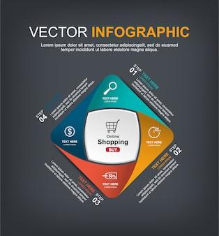 Progettazione di elementi infographic con 4 opzioni