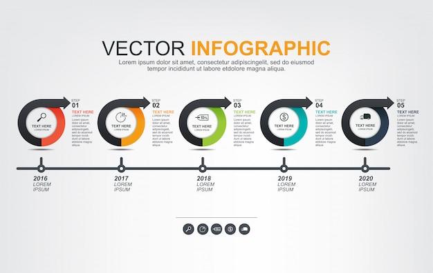 Progettazione di elementi infographic con 5 opzioni