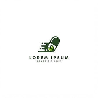 Progettazione di erbe dell'icona di vettore di logo della droga della medicina della foglia della pillola della capsula