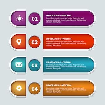 Progettazione di etichette infografiche con 4 opzioni o passaggi. infografica per il concetto di business.