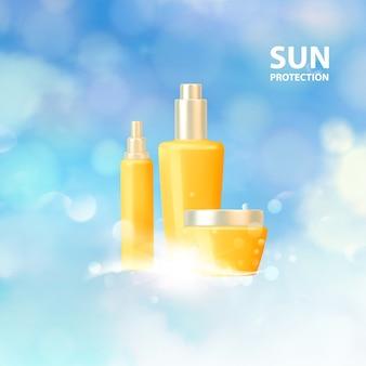 Progettazione di etichette per la protezione solare per le vacanze estive.