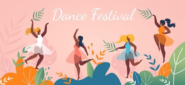 Progettazione di eventi del manifesto dell'estratto di festival di ballo di musica