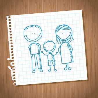 Progettazione di famiglia sopra l'illustrazione di vettore del fondo del taccuino del foglio