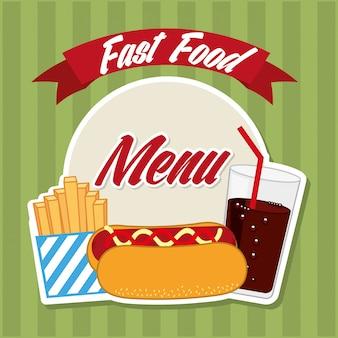 Progettazione di fast food su sfondo blu illustrazione vettoriale