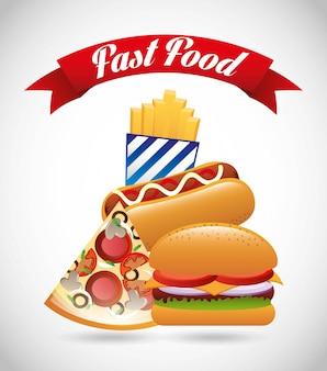 Progettazione di fast food su sfondo verde illustrazione vettoriale