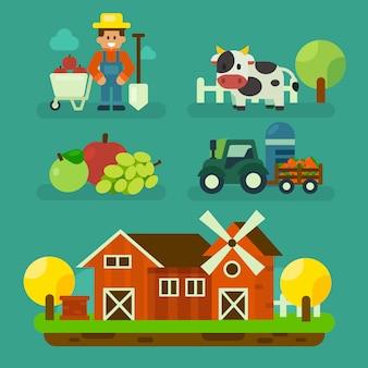 Progettazione di fattoria del fumetto con agricoltore e attrezzature design. illustrazione di vettore di elemento di azienda agricola biologica