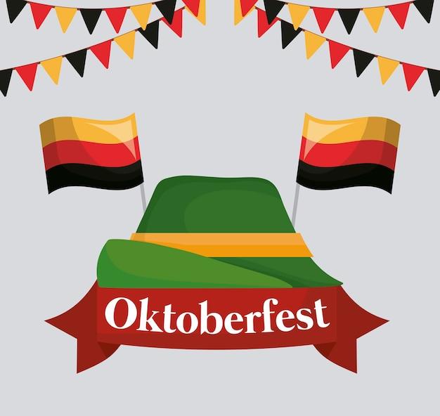 Progettazione di festival di oktoberfest con il vizio del vecto dell'icona