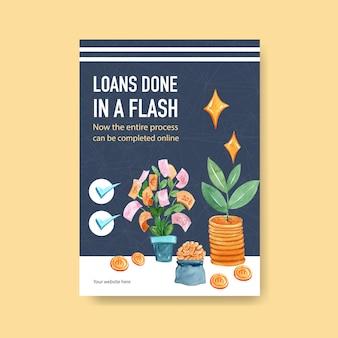 Progettazione di finanza del manifesto per l'illustrazione dell'acquerello di attività bancarie, di affari e di valuta