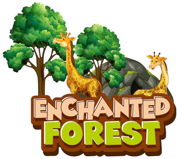 Progettazione di font per la parola foresta incantata con giraffe nel parco
