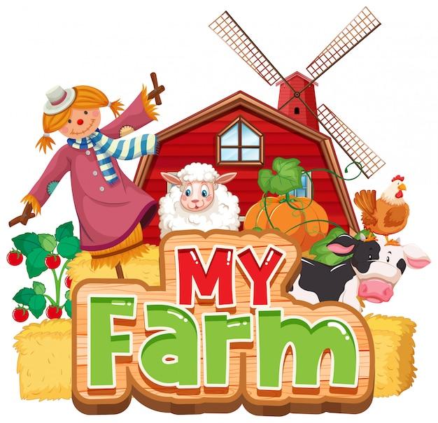 Progettazione di font per la parola mia fattoria con animali e verdure