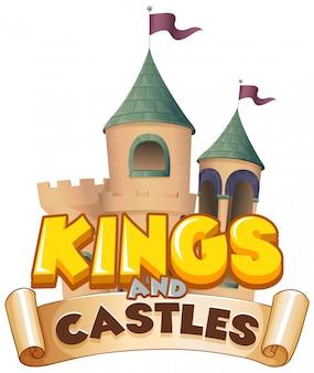 Progettazione di font per re della parola e castelli su sfondo bianco