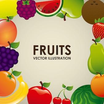 Progettazione di frutti sopra illustrazione vettoriale sfondo bianco